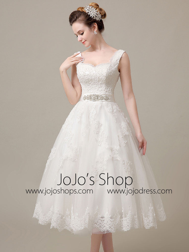 Retro Lace Tea Length Wedding Dress Dv3018 Jojo Shop