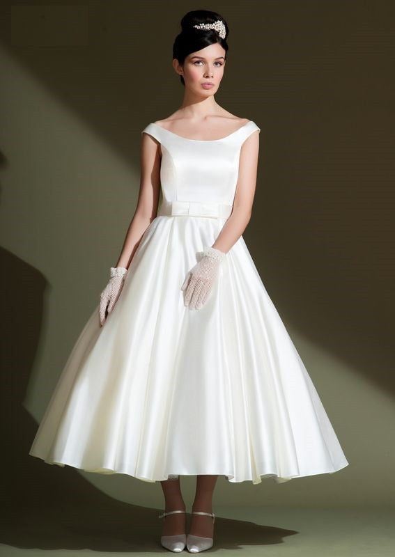 ae5dd64e10c3 Vintage Retro Classic Tea Length Satin Wedding Dress DV2071 – JoJo Shop