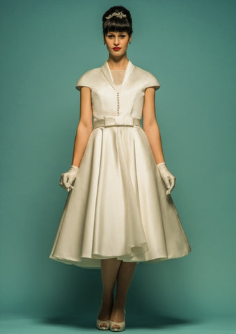 Retro Champagne Tea Length Wedding Dress with Sleeves