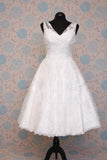 Retro 50s 60s Short Tea Length V Neck Lace Wedding Dress