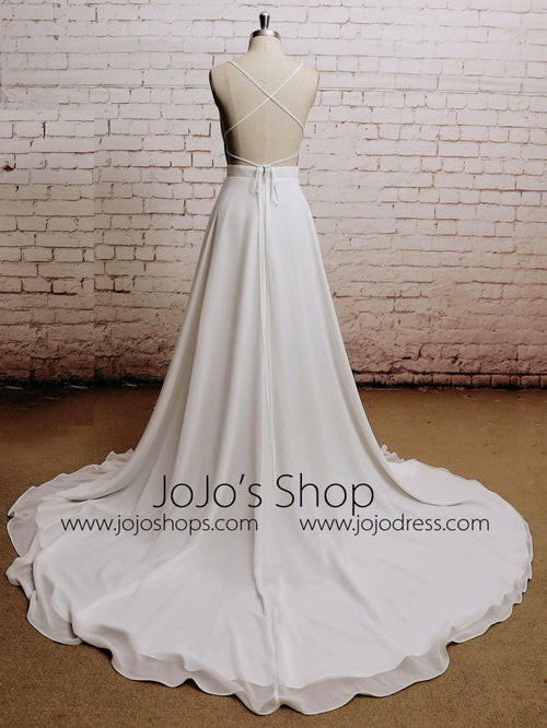 Boho Chiffon Wedding Dress with Plunging Neckline | EE3010