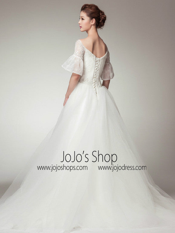 Retro Vintage Style Princess A,line Wedding Dress with Sleeves
