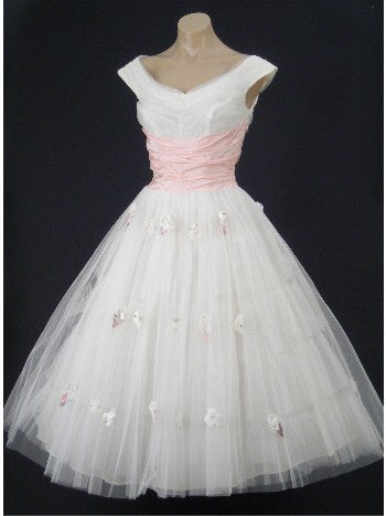 Retro Vintage Style 50s White And Pink Tea Length Wedding