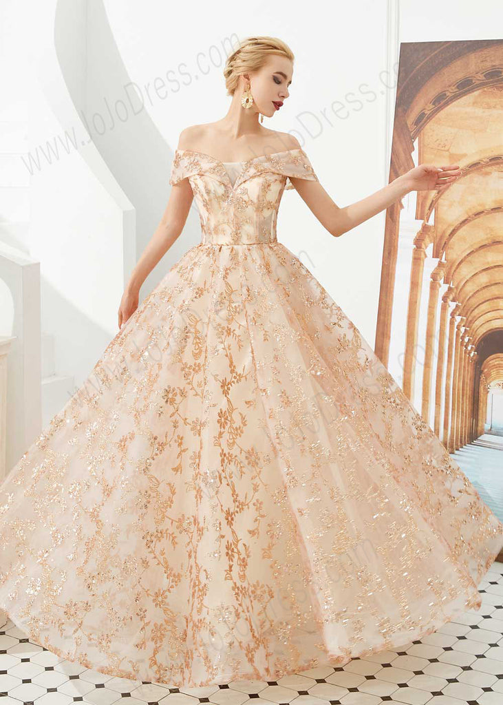 Rose Gold Lace Ball Gown Prom Dress