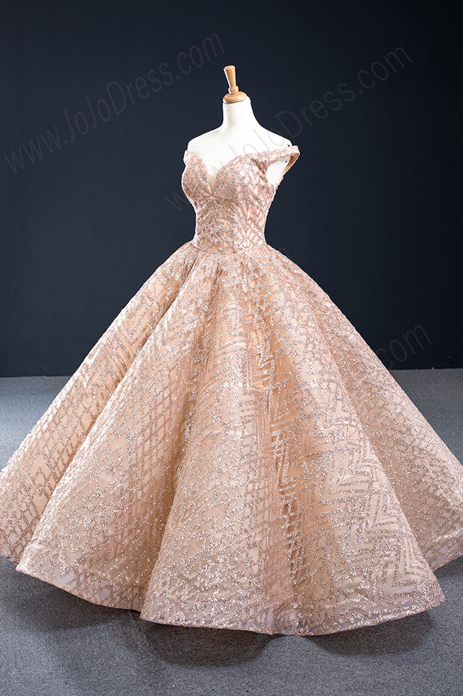 Sparkly Rose Gold Formal Ball Gown Evening Dress RS2012