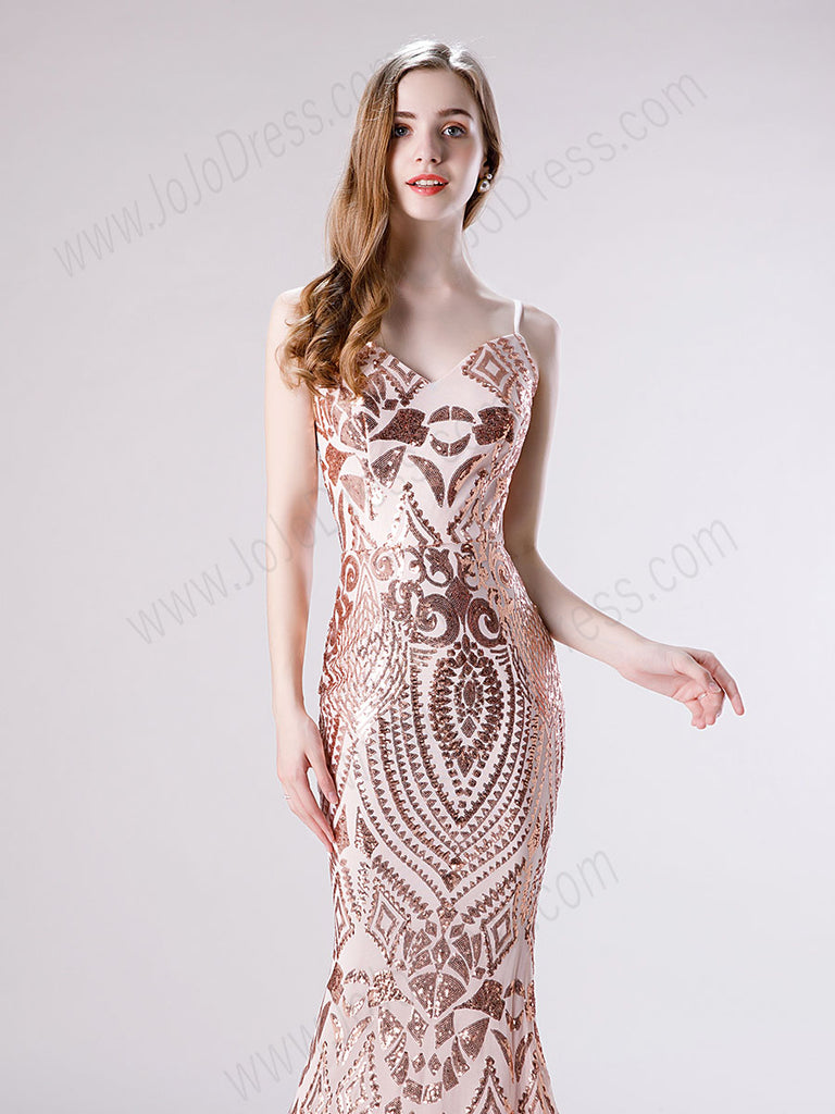 Rose Gold Sequin Lace Slim Prom Evening Dress