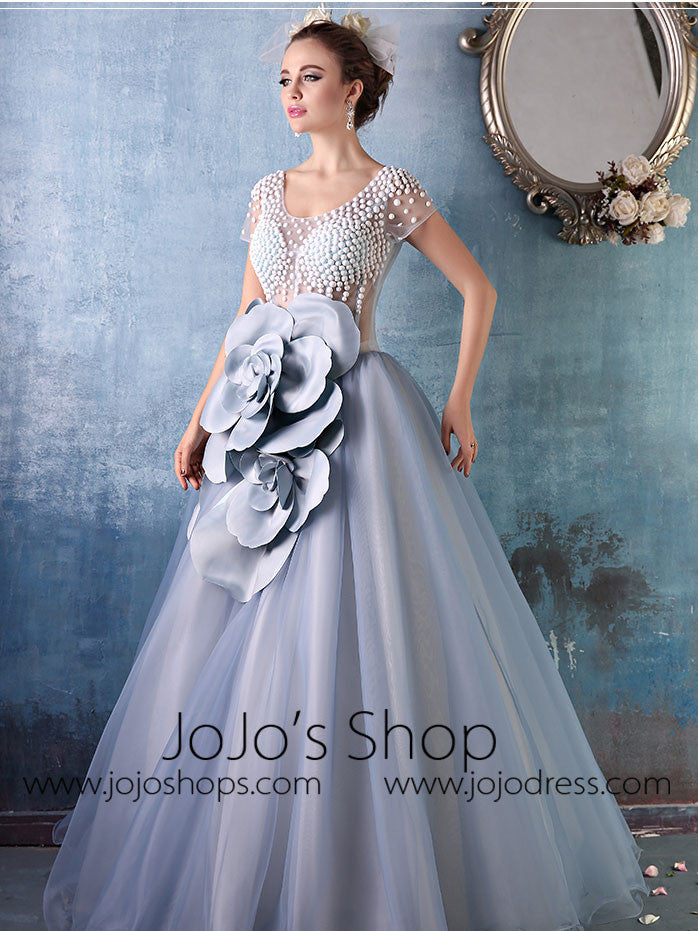 Short Sleeves Gray Ball Gown Quinceanera with Rosette | X034