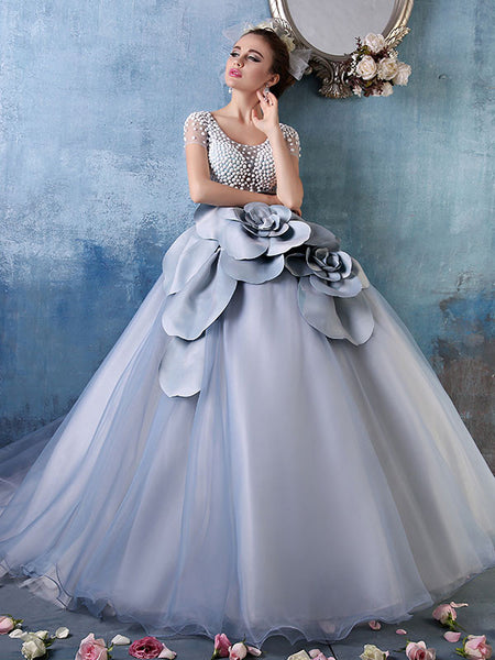 Short Sleeves Gray Ball Gown Quinceanera With Rosette