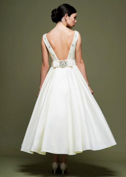 Low Back Tea Length Wedding Dress DV2072