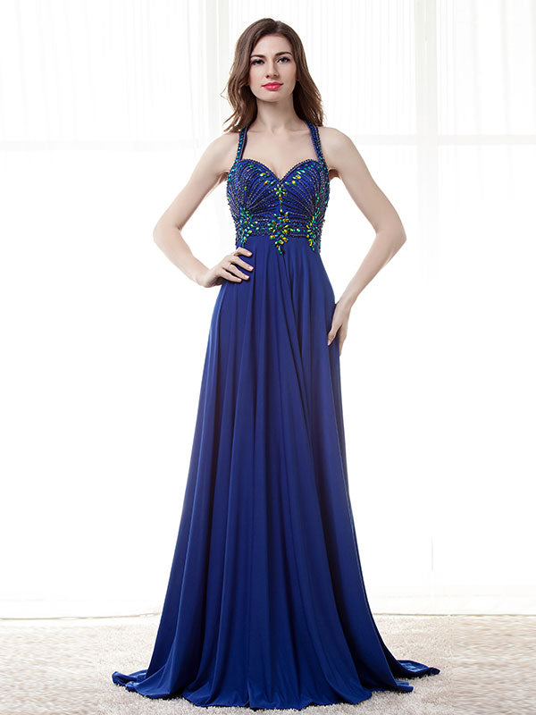 Royal Blue Halter Chiffon Formal Prom Evening Dress