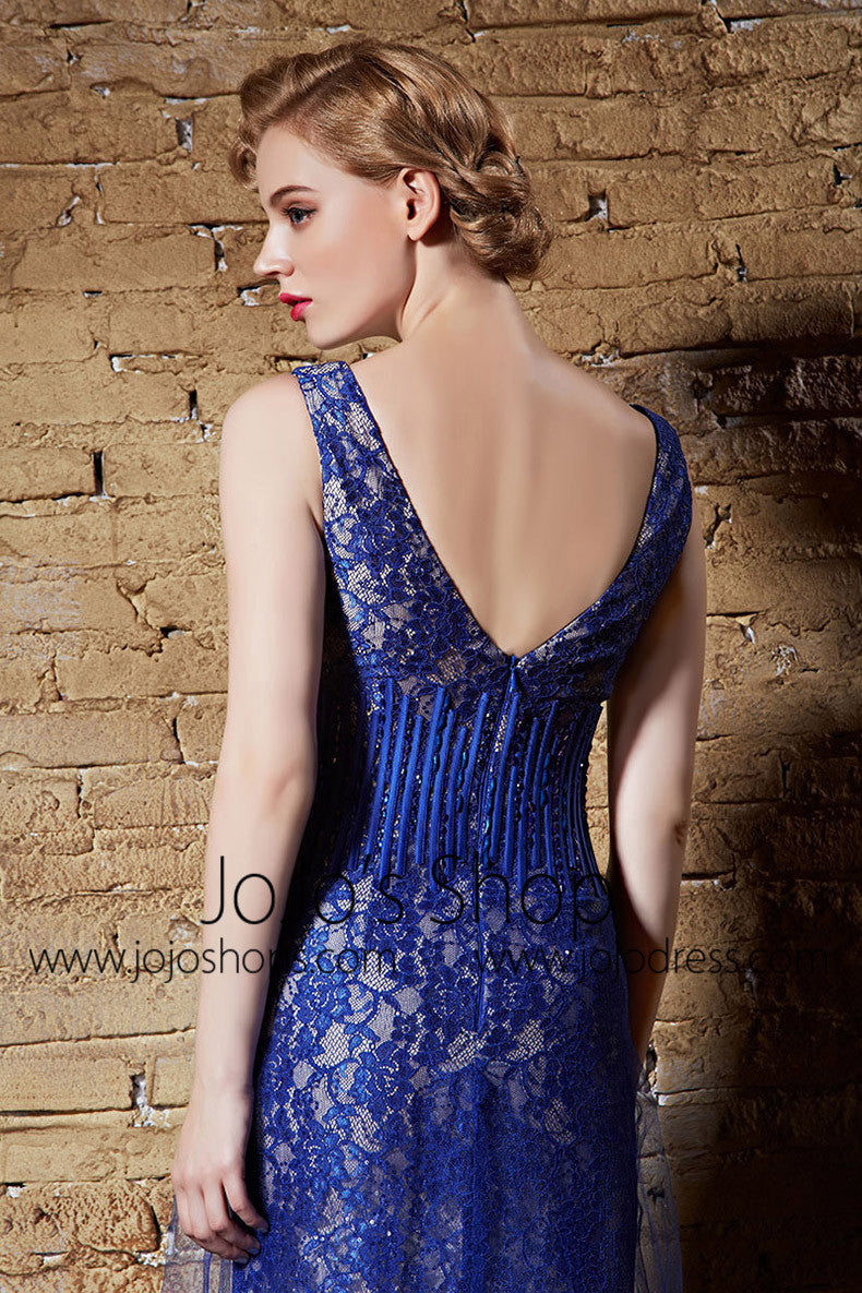 Hot Blue Lace Vintage Hollywood Style Formal Prom Graduation Dress | CX830903