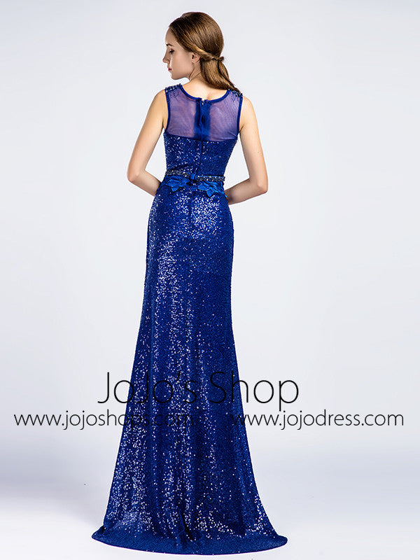 Sequined Shimmery Royal Blue Long Formal Prom Evening Dress