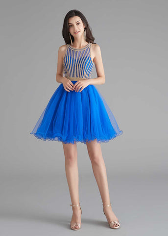 Chic Short Royal Blue Tulle Evening Dress