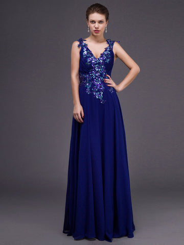 Grecian Royal Blue V Neck Chiffon Formal Dress