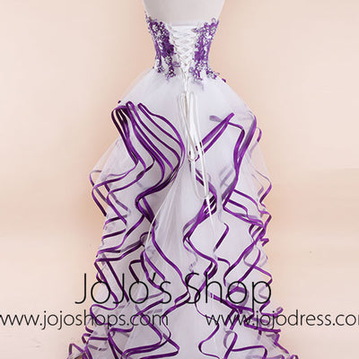 Strapless Hi-Low Ruffles Prom Formal Pageant Dress