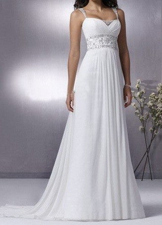 Grecian chiffon wedding dress with empire waist jojo shop for Grecian chiffon wedding dress