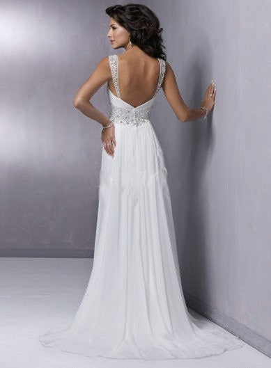 Grecian Wedding Dress.Grecian Chiffon Wedding Dress With Empire Waist