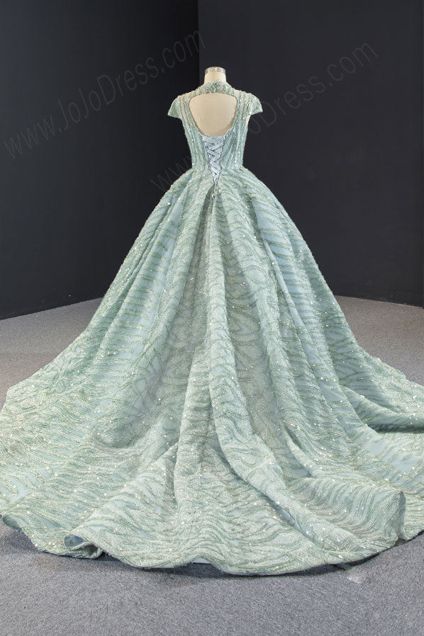 Sparkly Sage Green Black Tie Ball Gown Evening Dress RS2011