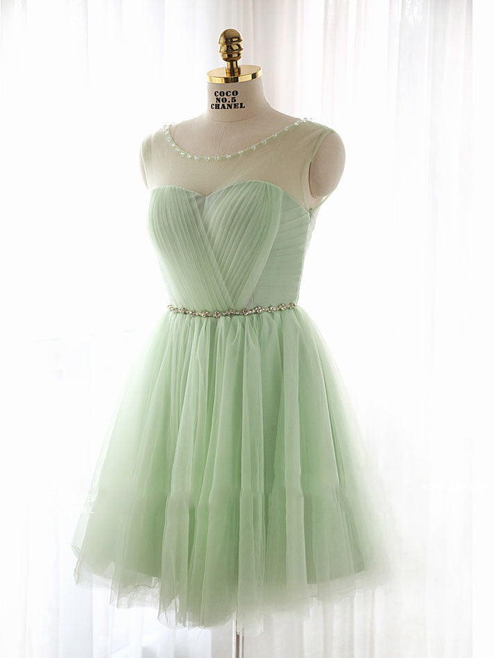 Sage Green Short Tulle Bridesmaids Dress for Fairy tale Wedding