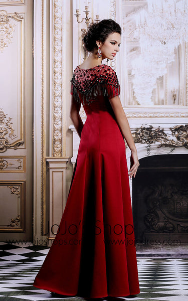Scarlet Red Modest Formal Evening Military Ball Gown