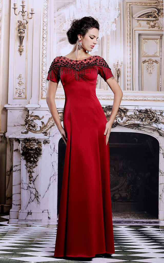 Scarlet Red Modest Formal Evening Military Ball Gown Pageant Dress ...