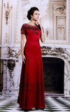 Scarlet Red Modest Formal Evening Military Ball Gown Pageant Dress Black Tie | DQ831305