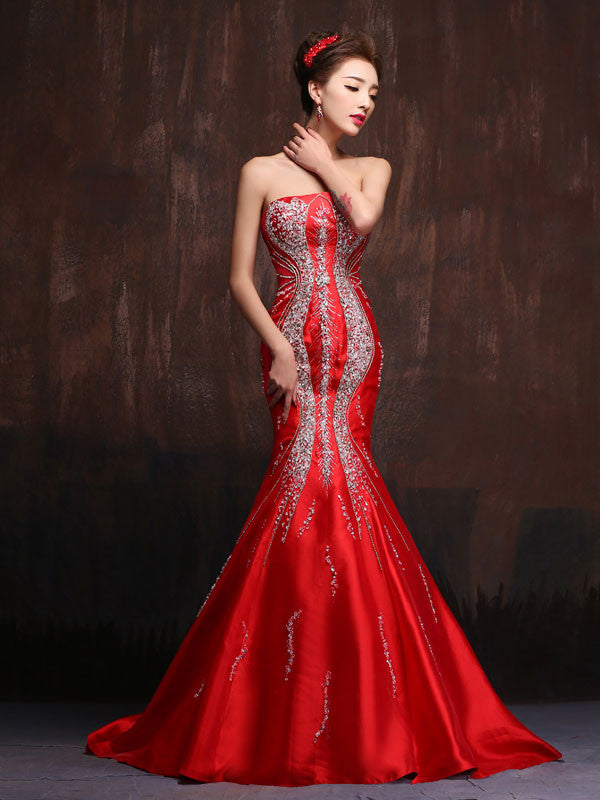 Scarlet Red Sexy Strapless Fit and Flare Mermaid Wedding Dress Formal Evening Gown Prom Dress X013