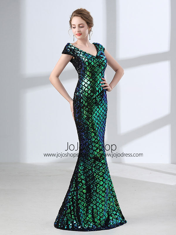 Green Sequins Long Formal Prom Evening Dress with Cap Sleeves