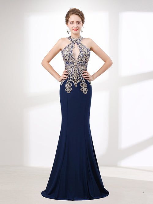 Navy Blue Halter Lace Formal Evening Dress