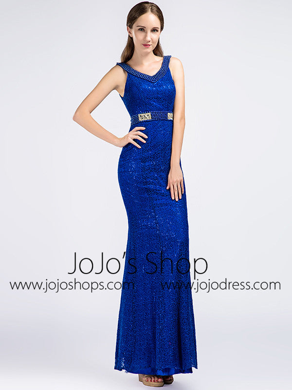 Sparkly Royal Blue Formal Prom Evening Dress