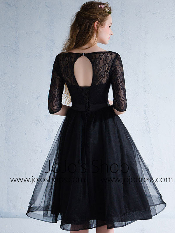 Black Lace Modest Knee Length Formal Prom Evening Dress
