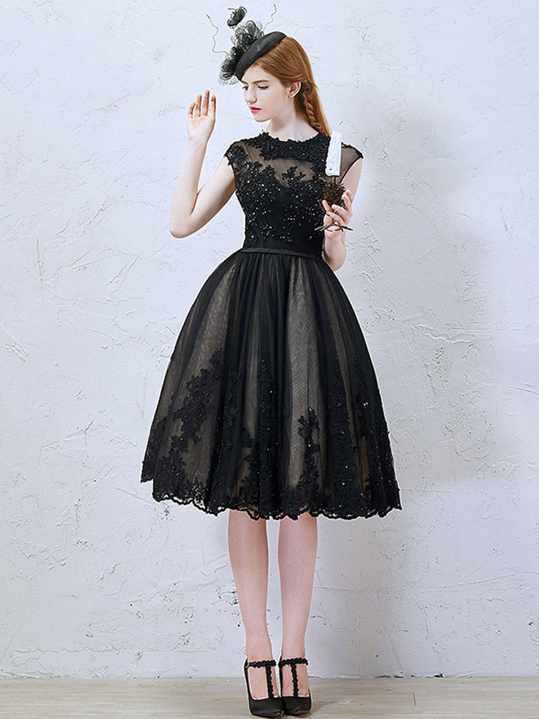 Little Short Black Lace Formal Evening Dress