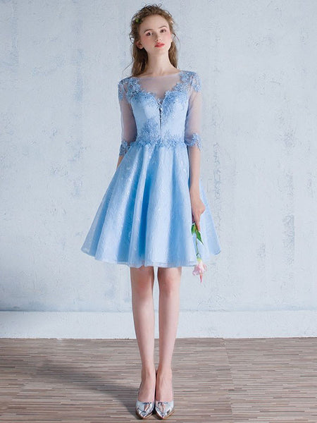 Short Blue Lace Cocktail Dress