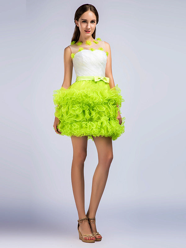 c253746979fd Neon Green Short Cocktail Prom Dress with Ruffles – JoJo Shop