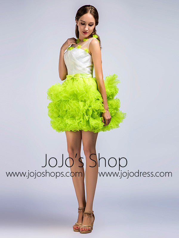 Neon Green Short Cocktail Prom Dress with Ruffles