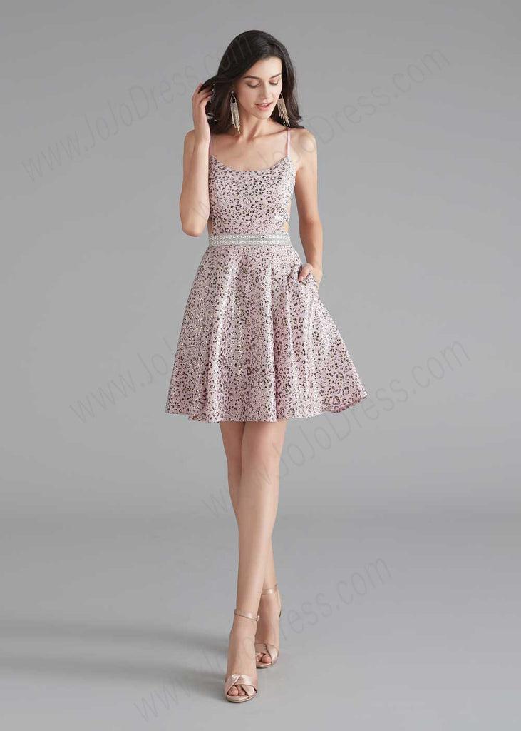 Cute Short Pink and Silver Cocktail Dress