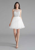 Chic Short White Tulle Evening Dress