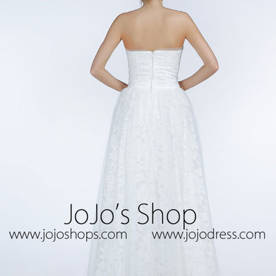 Simple Strapless Lace A-line Wedding Dress