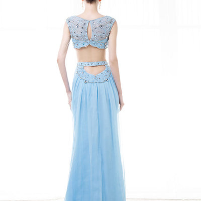 Two Piece Sky Blue Formal Evening Prom Dress