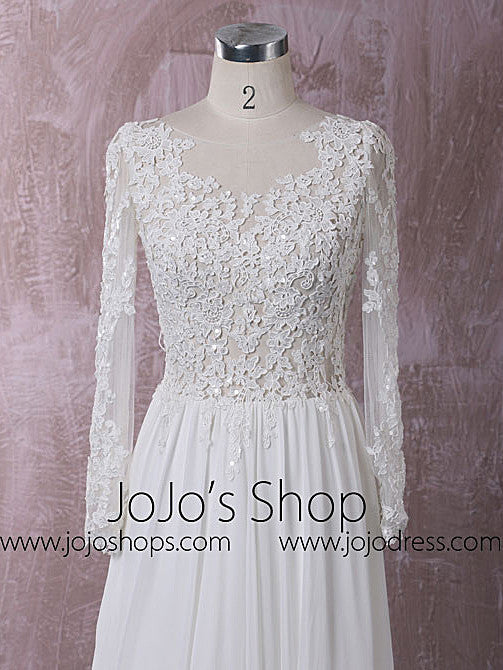 Chiffon Lace Dress with Long Sleeves