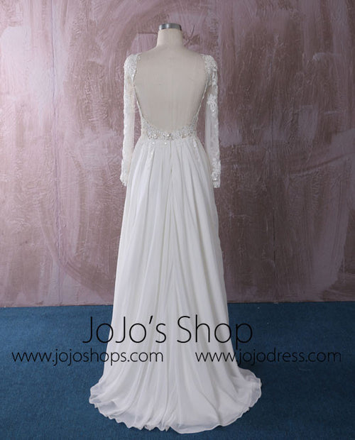 Chiffon Lace Wedding Dress with Long Sleeves