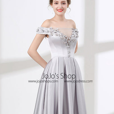 Soft Gray Off Shoulder Long Formal Prom Pageant Evening Dress