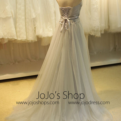 Strapless Gray Long Formal Prom Evening Dress
