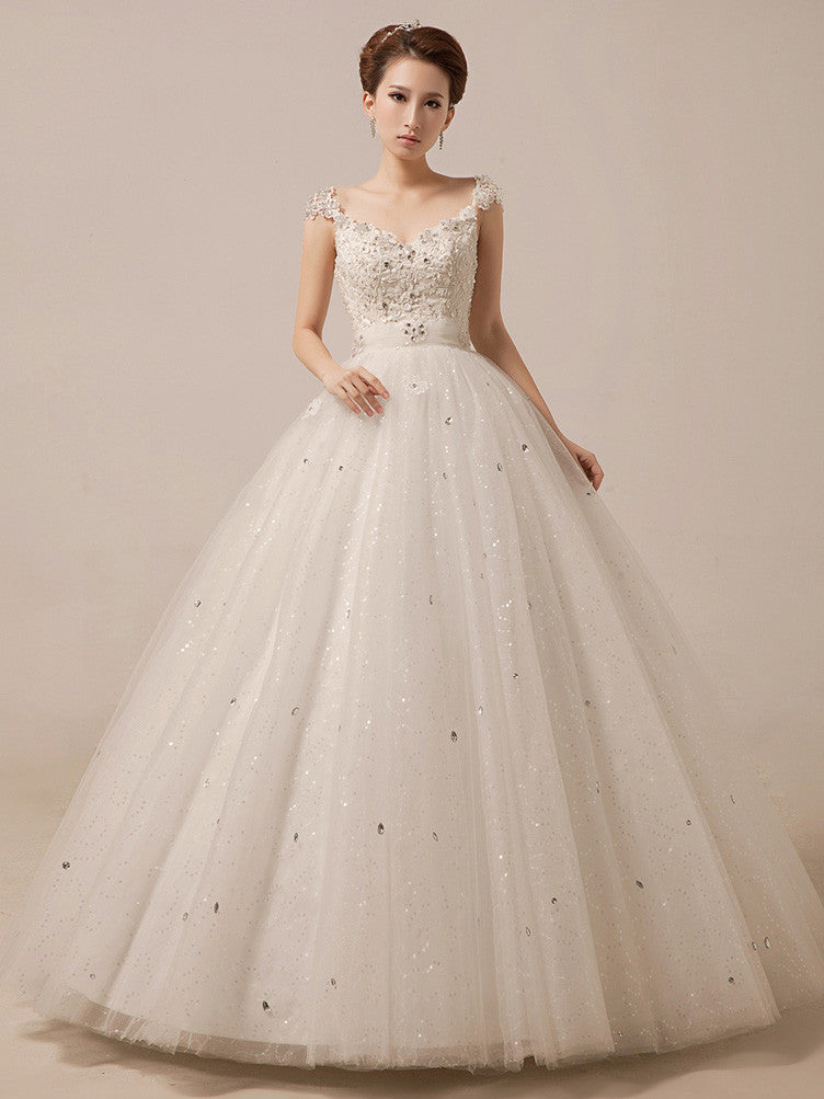 Sparkly Debutante Ball Dress Wedding Dress with Crystal Rhinstones | MX5013