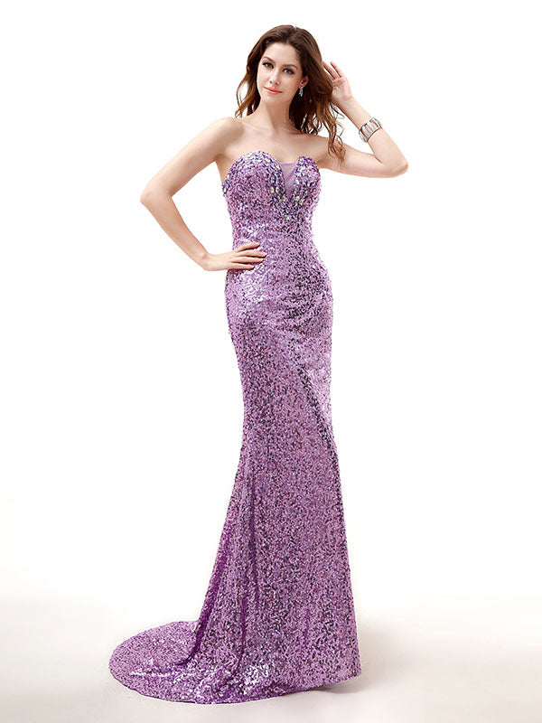 Sparkly Purple Strapless Formal Prom Evening Dress