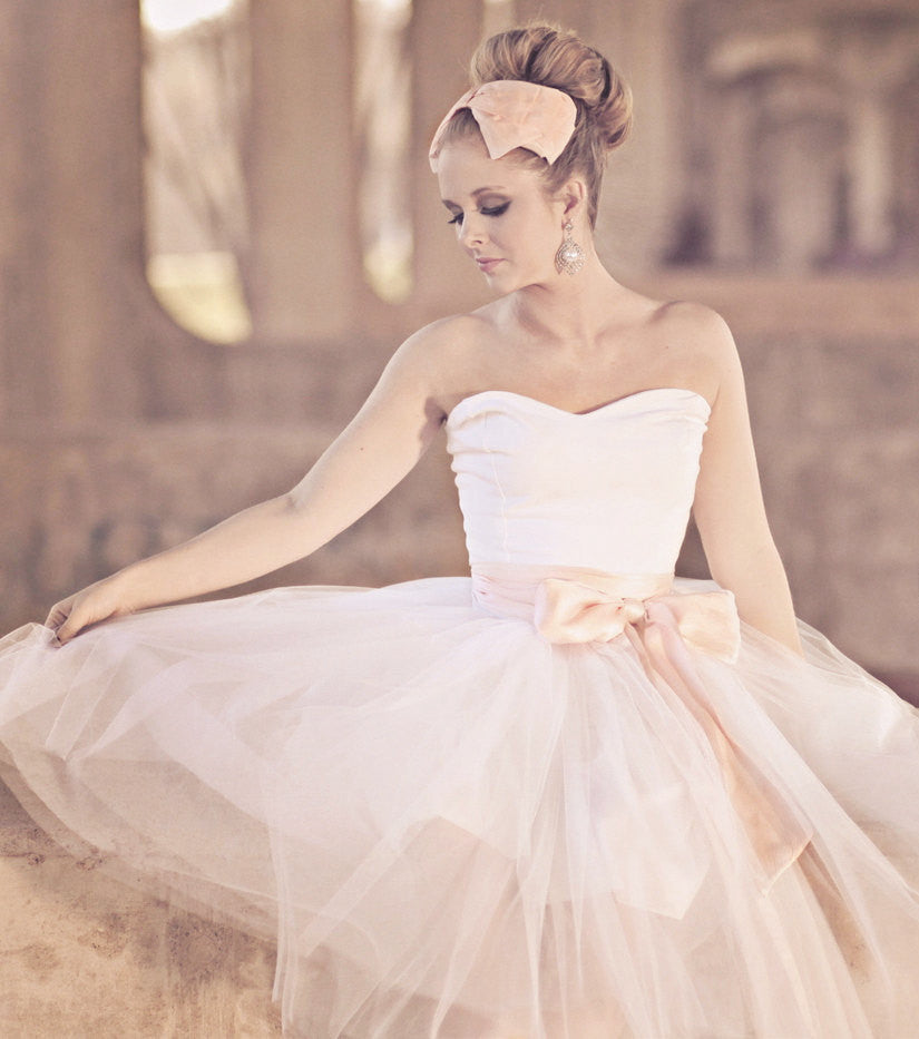 Strapless Ballerina Style Tulle Tea Length Wedding Dress