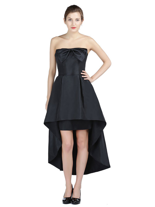 Strapless Black Hi-Low Formal Prom Dress with Bow