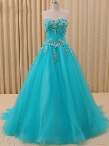 Blue Strapless Ball Gown Pageant Dress