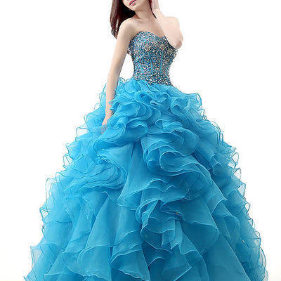 Strapless Blue Quinceanera Ball Gown Home Coming Dress