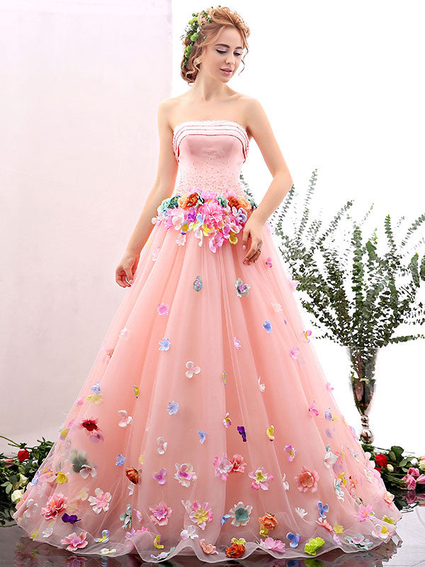61d3f65d65d9 Blush Pink Strapless Ball Gown Formal Prom Dress with Colored Flowers |  X1601